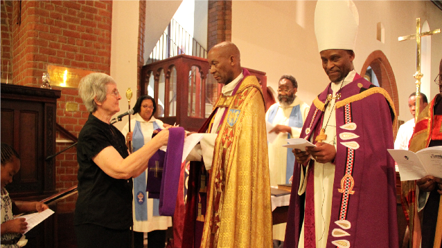 Charlotte Kettle, Fr Laz & Bishop Dintoe